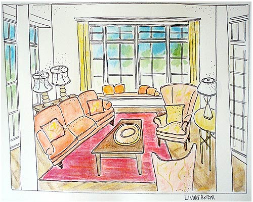Living Room rendering by Laurie Ladlock