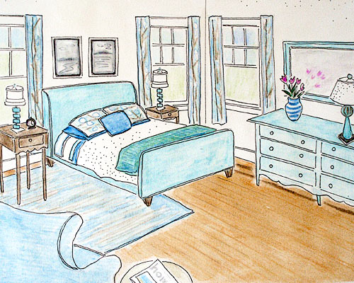 Master Bedroom rendering by Laurie Hadlock